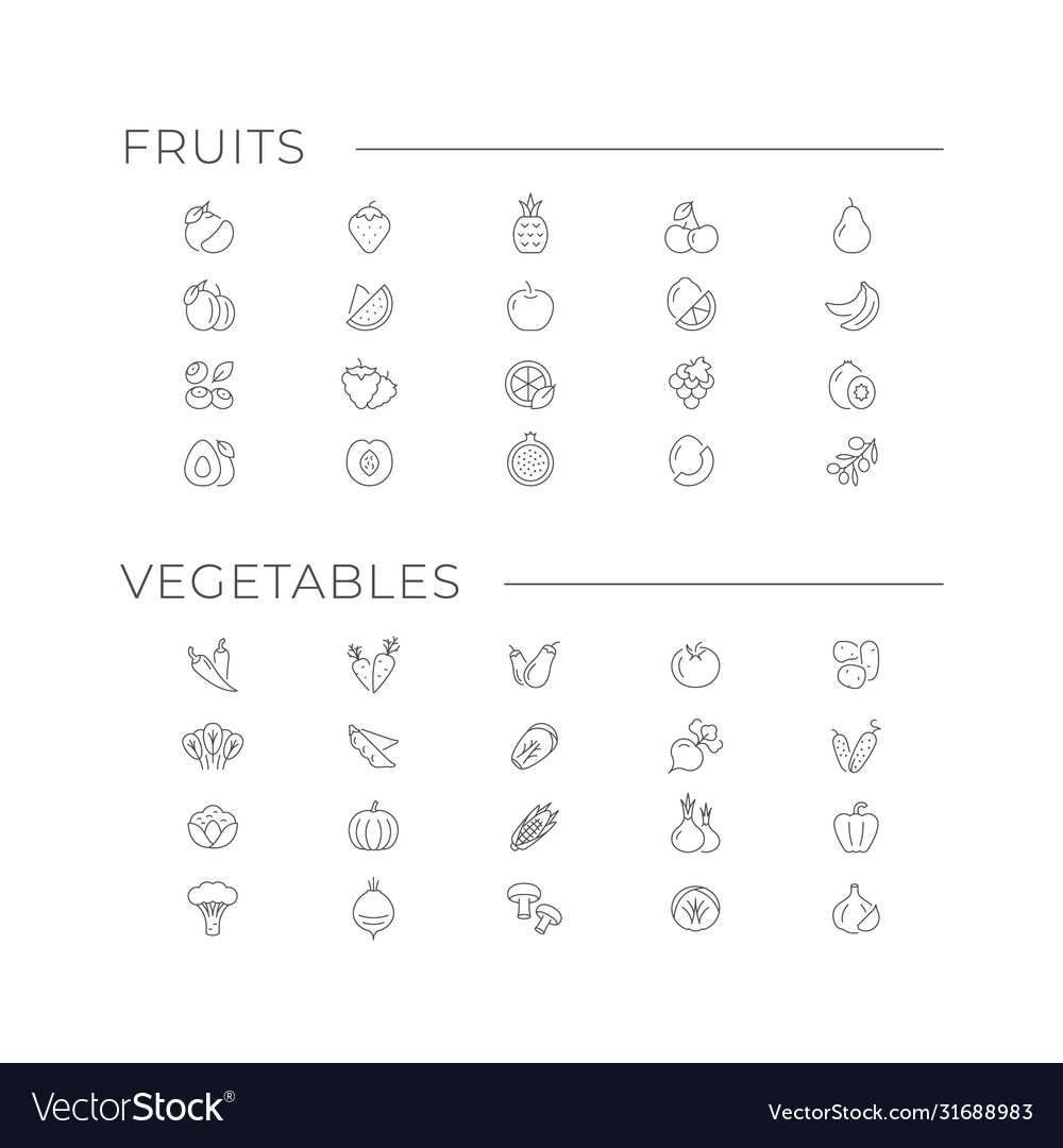 Set icons fruits and vegetables