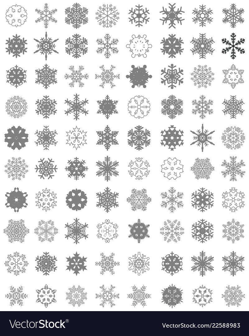 Set of different gray snowflakes