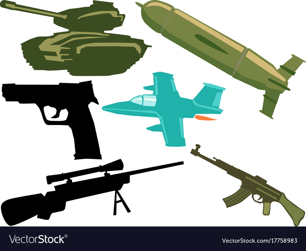 Set of military objects
