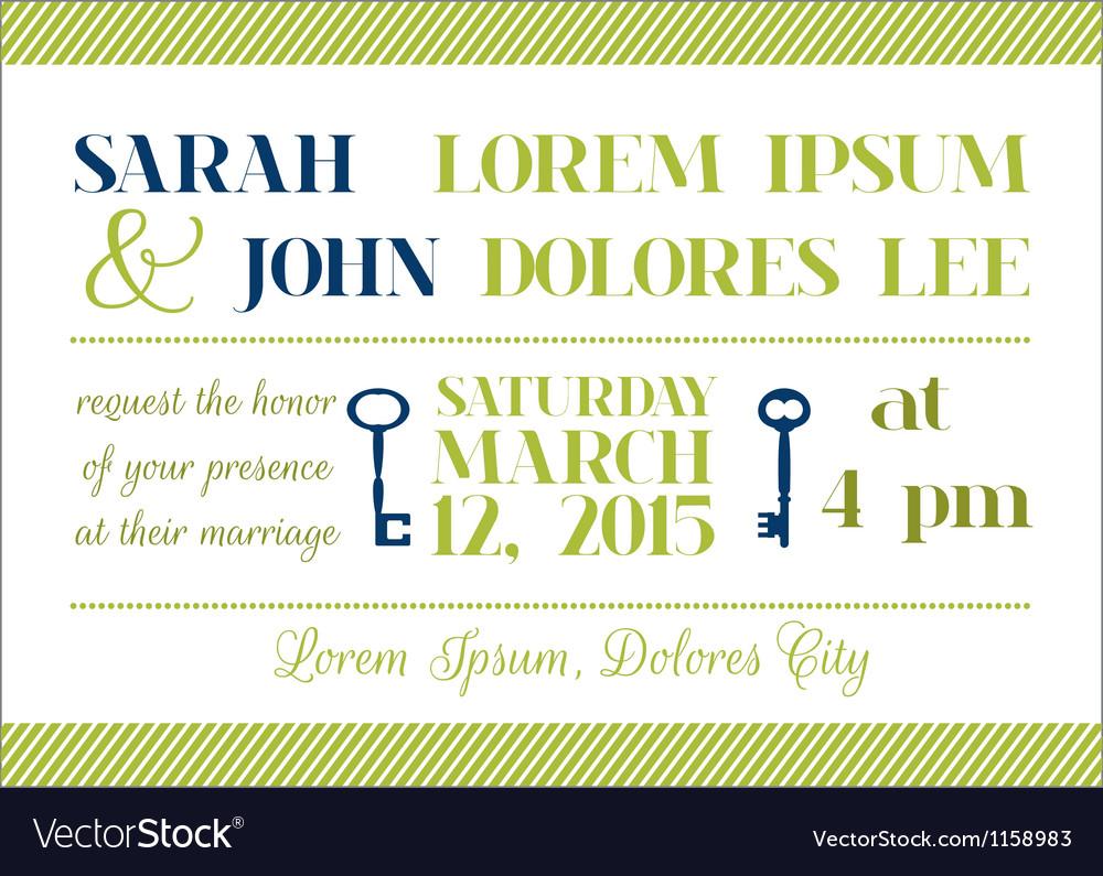 Wedding Invitation Card - Key Theme