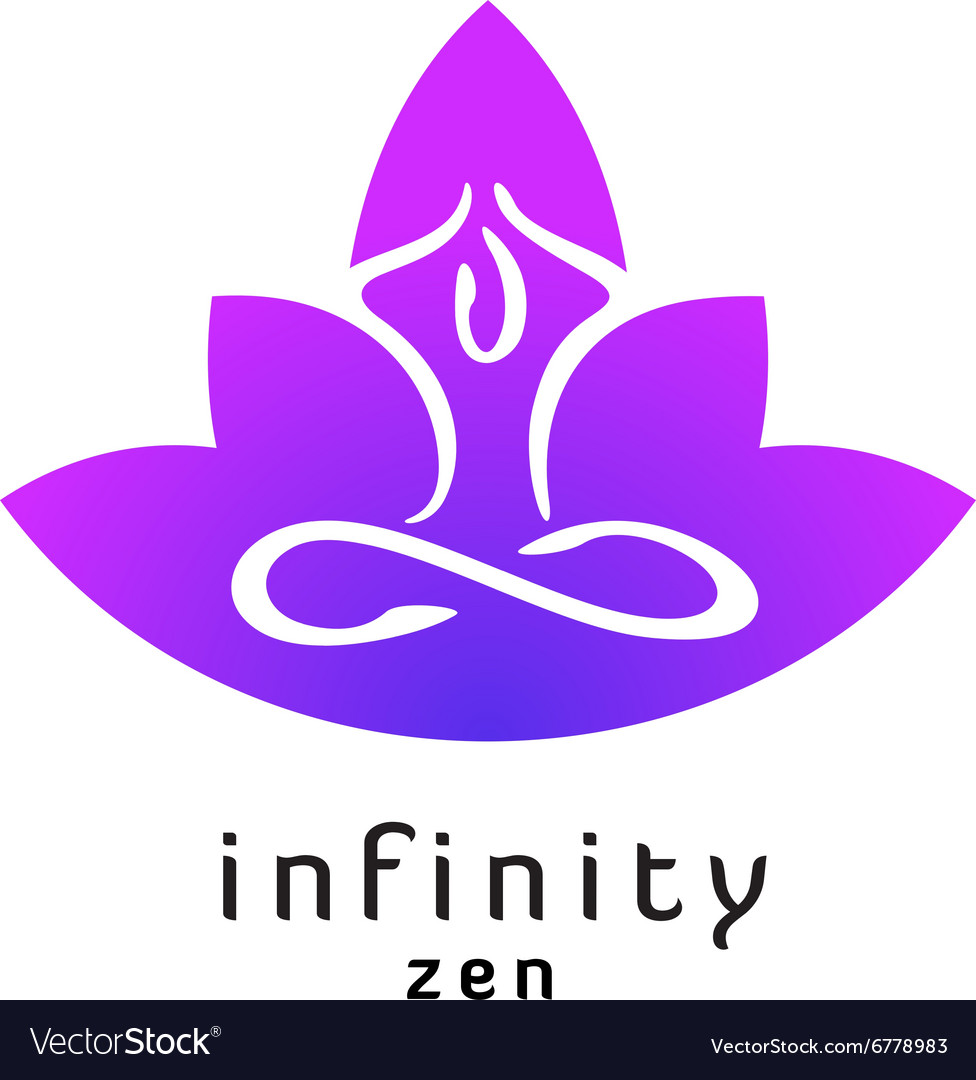 Yoga zen pose logo with lotus flower silhouette