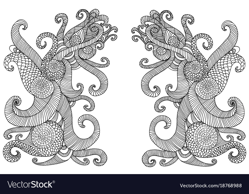 Abstract ethnic black white background isolated vector image