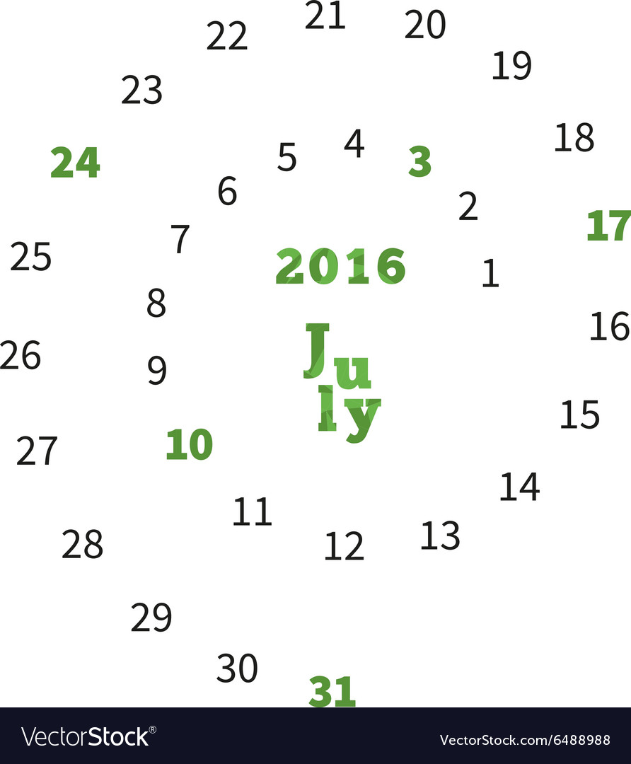 Creative calendar for July 2016 with dates on