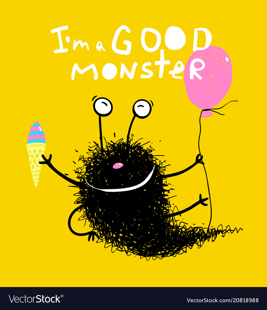 Good monster with balloons and ice cream