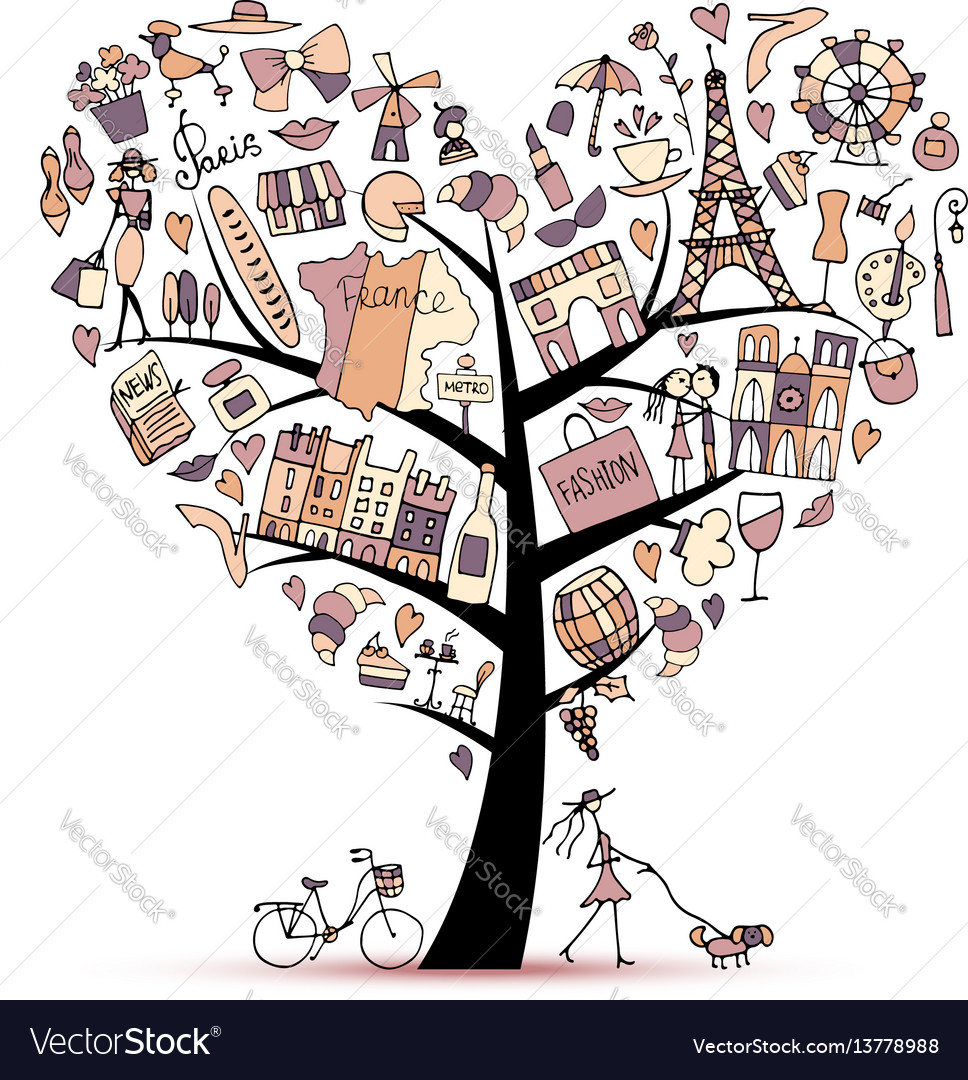 I love france art tree sketch for your design