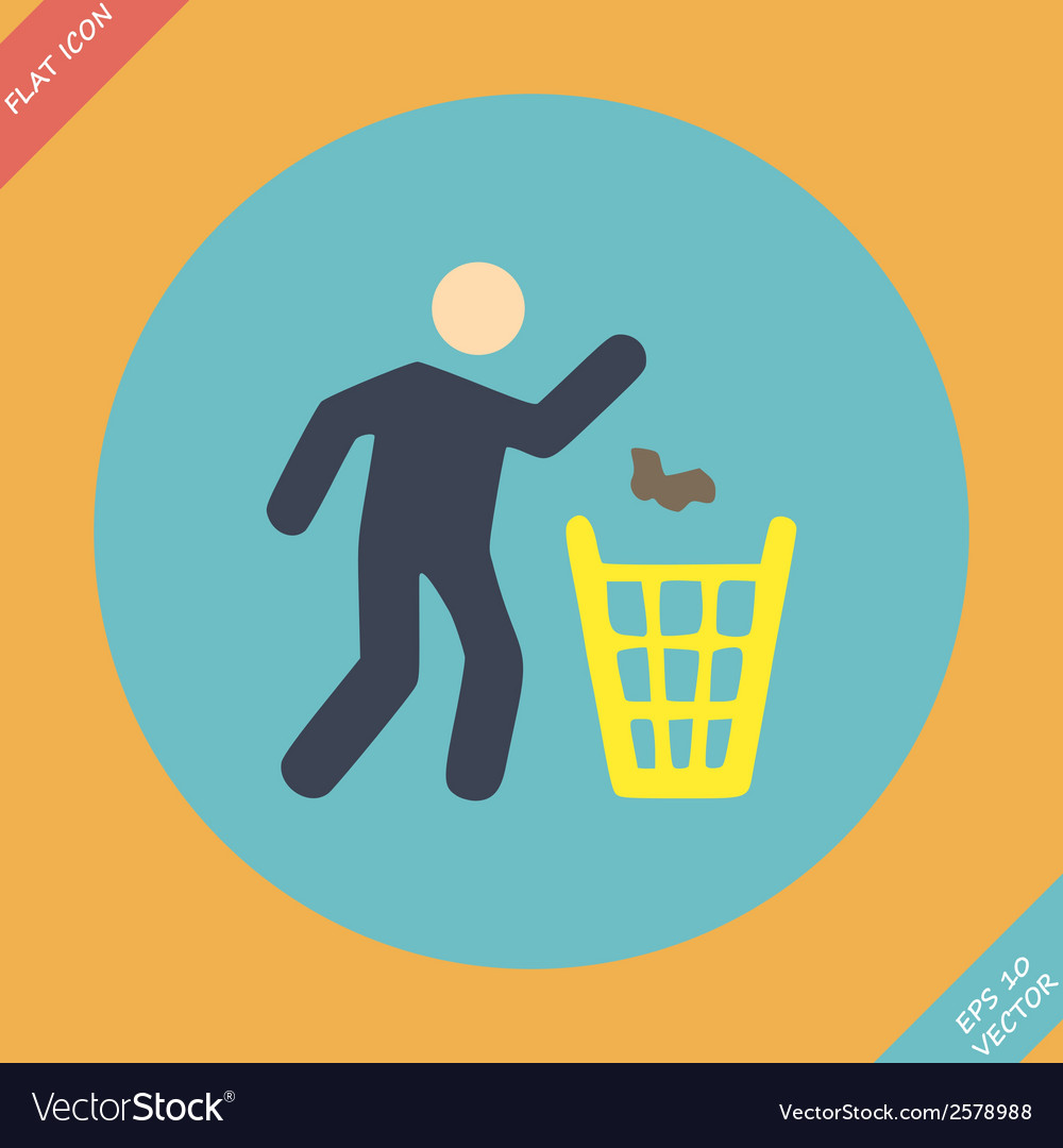 Littering sign icon - Flat vector image