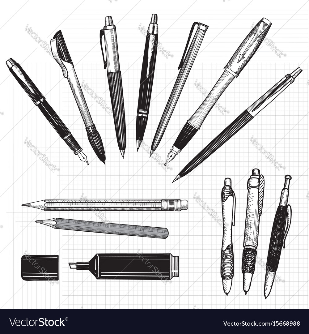 Pen set hand drawn doodle pencils pens and vector image