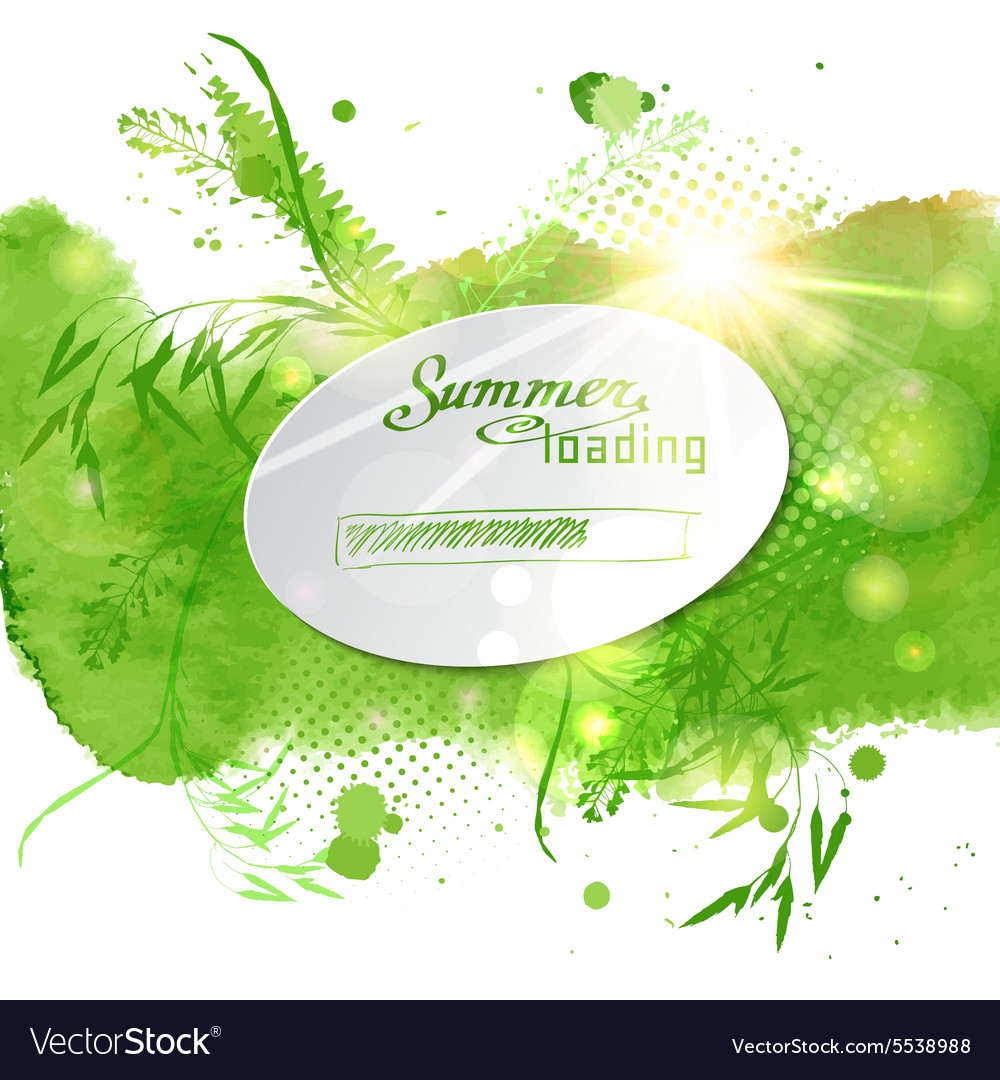 Postcard with the words Summer loaded on green