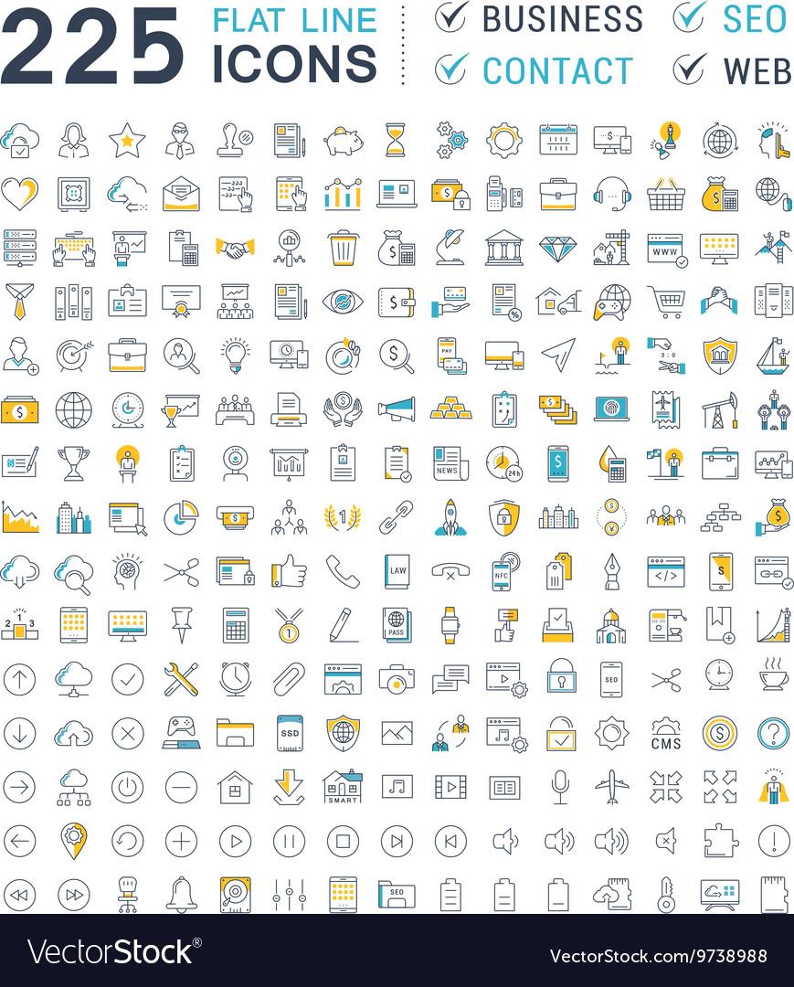 Set flat line icons business seo web