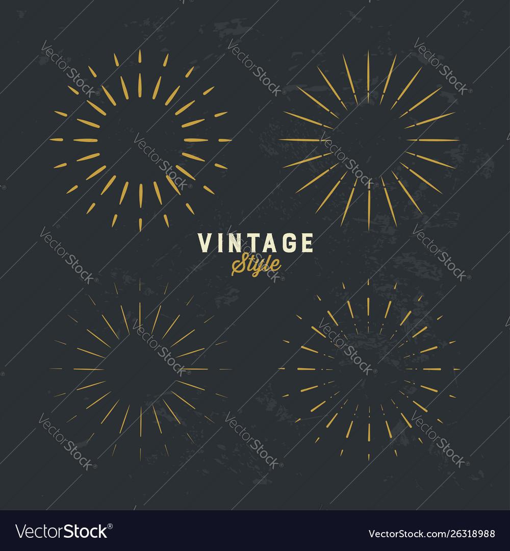 Set vintage gold sunburst firework sparks