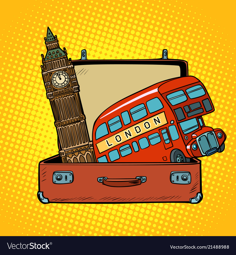 Travel to england concept suitcase with london