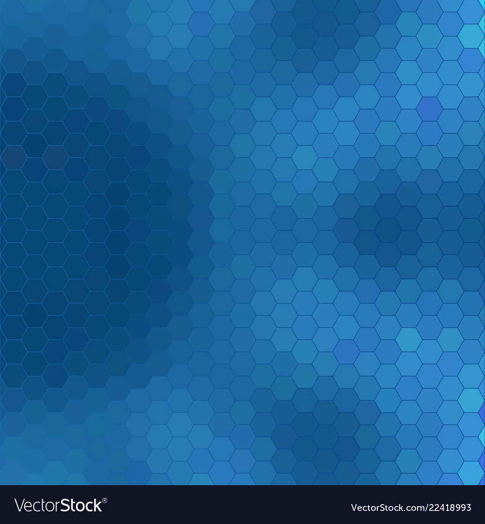 Abstract geometric hexagon grid - shades of blue