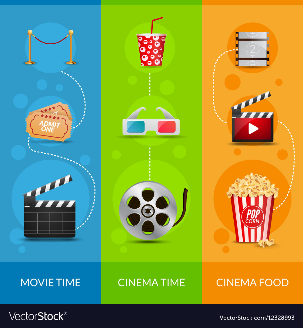 Cinema Movie Banner Poster Design Template Film Vector Image