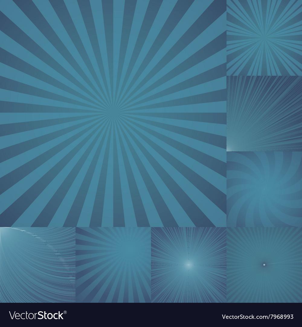 Collection of color dark blue burst background vector image