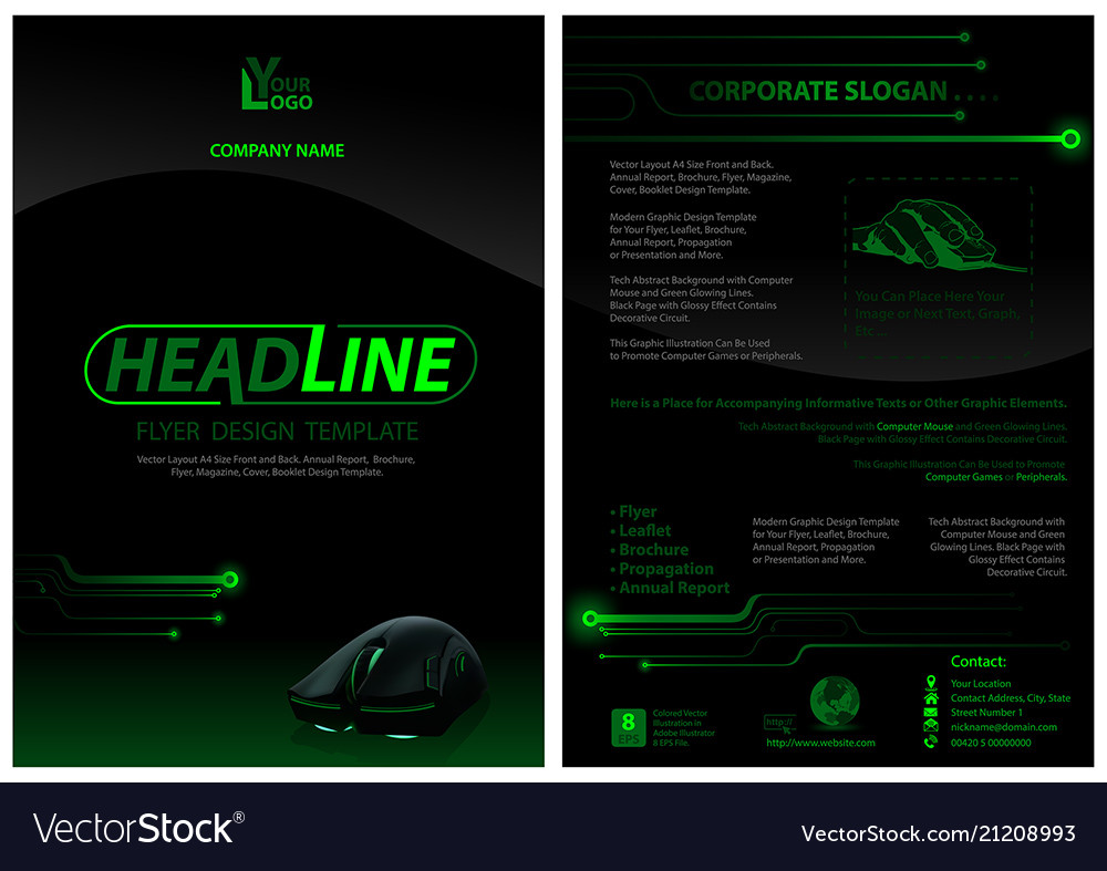 Dark flyer template with computer mouse