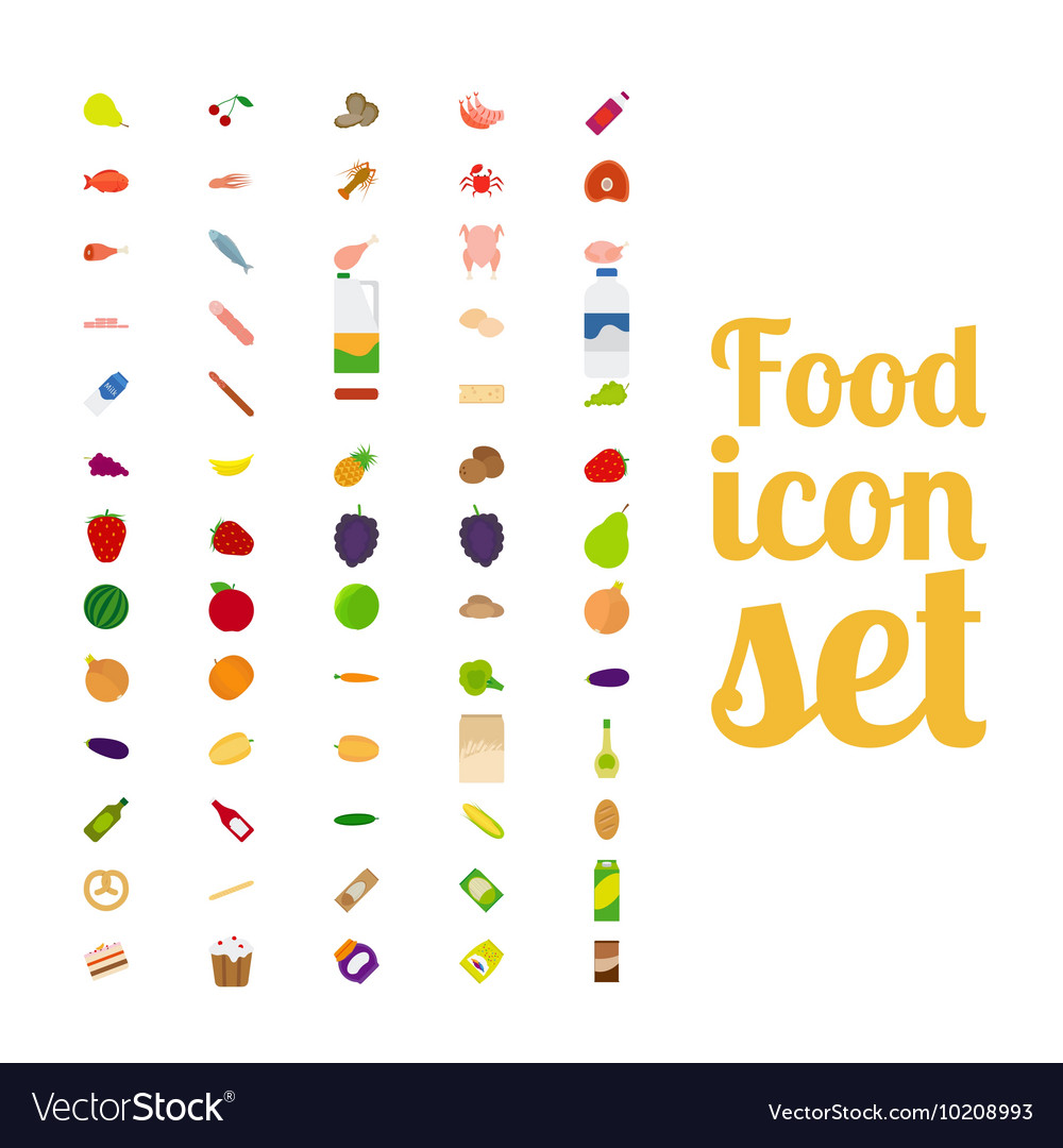 Different food isolated icon set vector image
