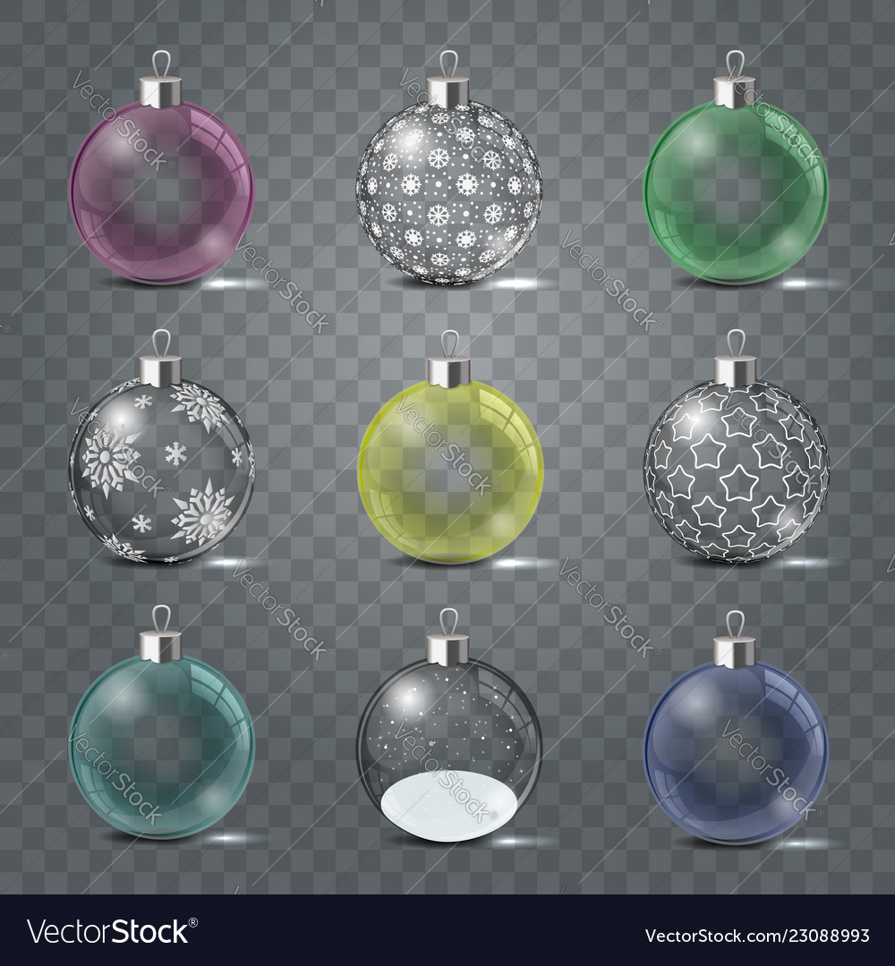 Glass christmas toys set on a transparent