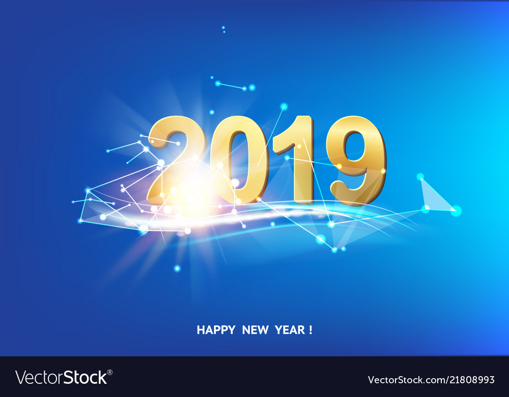 Happy new year card over blue background