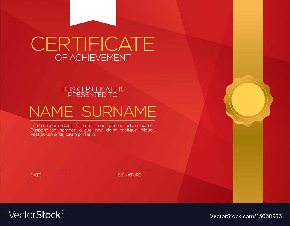 Modern style blank red certified template