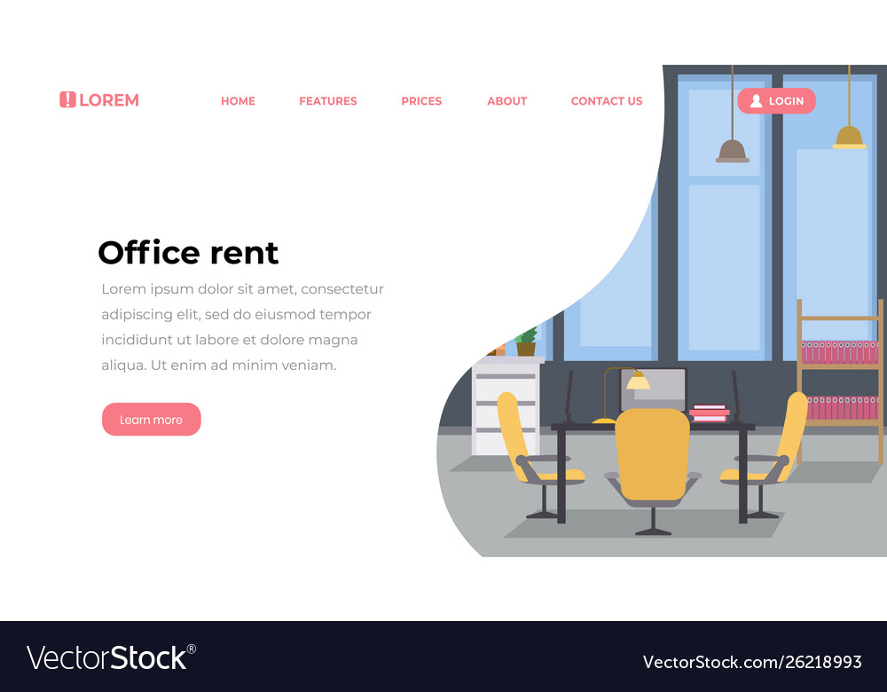 Office rent landing page flat template empty