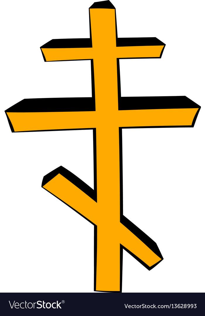 Orthodox cross icon cartoon