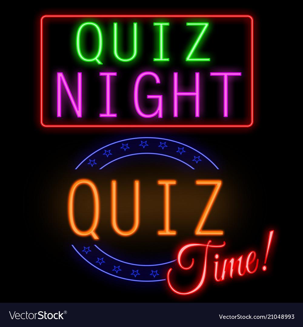 Quiz glowing neon sign