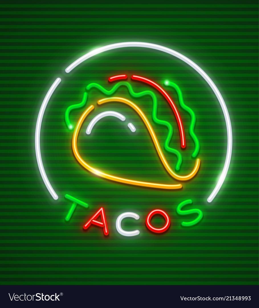 Tacos neon emblem mexican