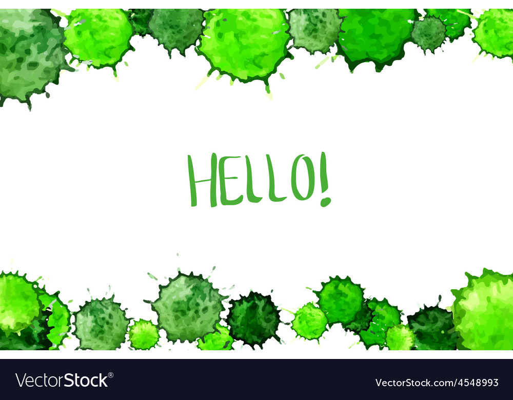 Watercolor colorful green blot background