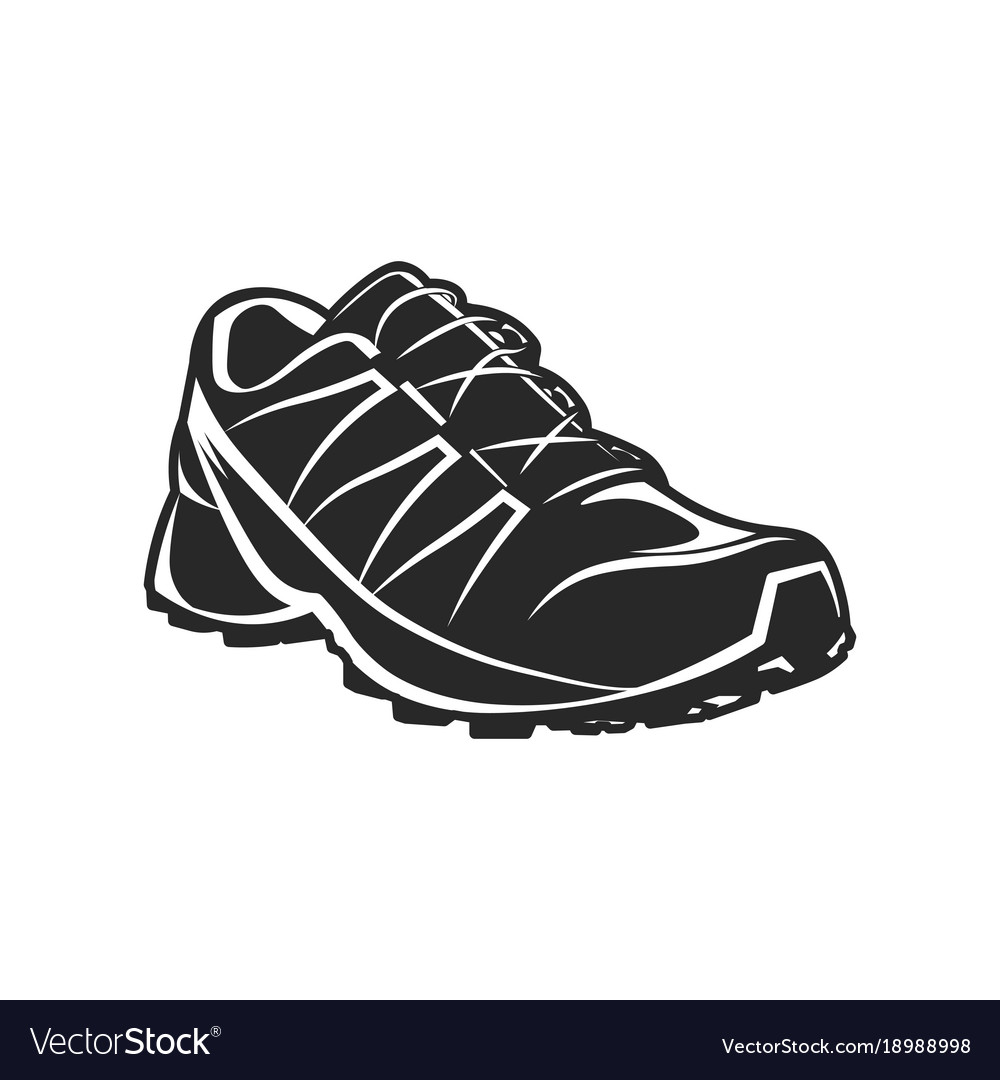 Athletic sport shoe black and white