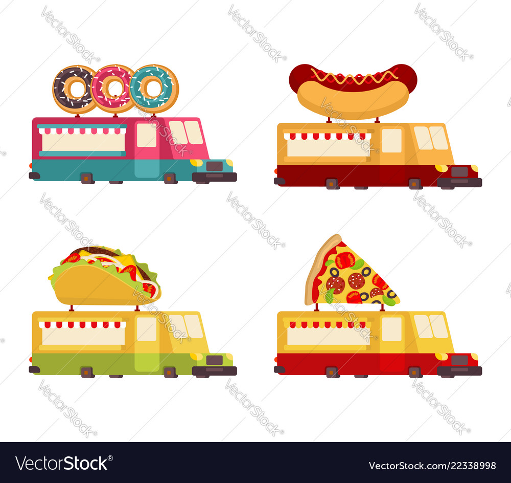 Car food truck set fast food car collection taco
