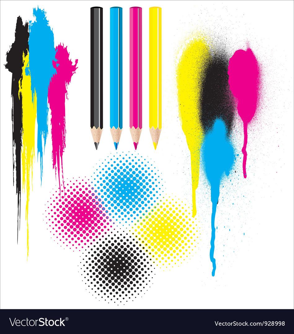 CMYK splatters pencils and halftones vector image