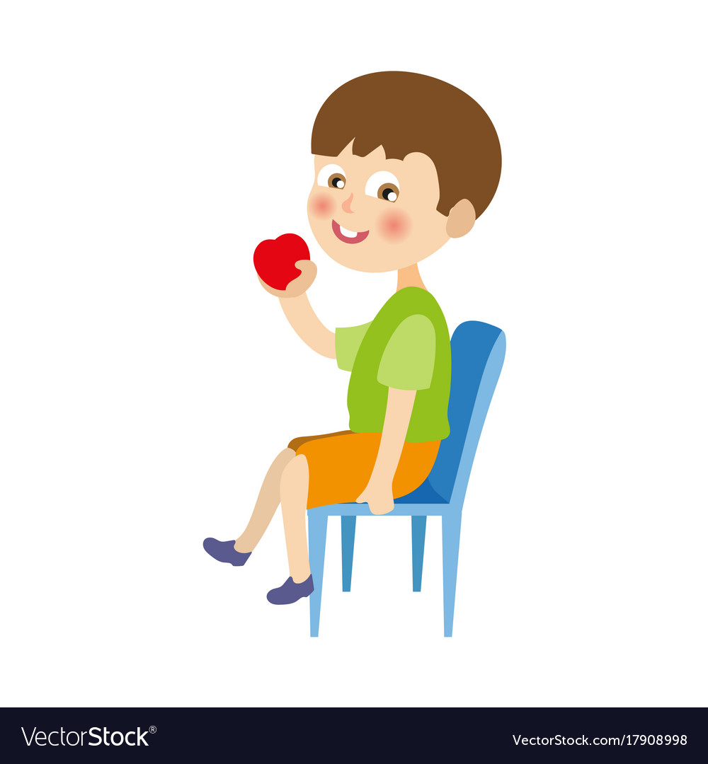 Flat boy sitting at chair eating apple vector image