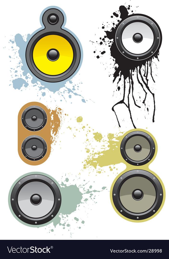 Grunge loudspeakers vector image