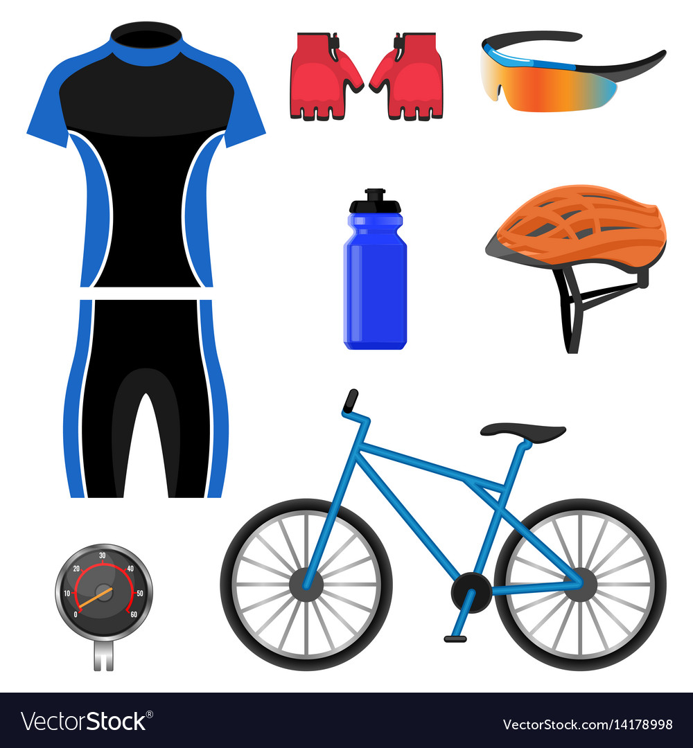 Set of bicycling icons