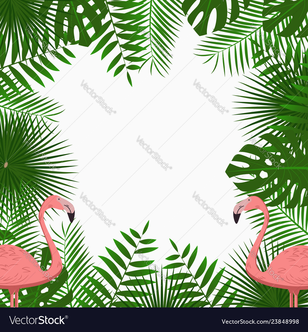 Tropical poster with jungle palm leaves flamingo