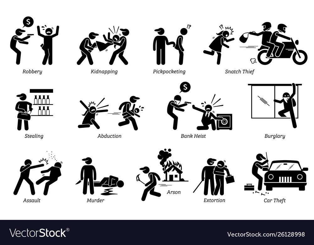 Violence violent crime and criminal pictograph