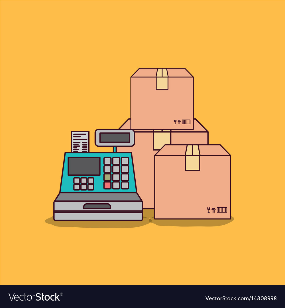 Yellow background with cash register and packages vector image