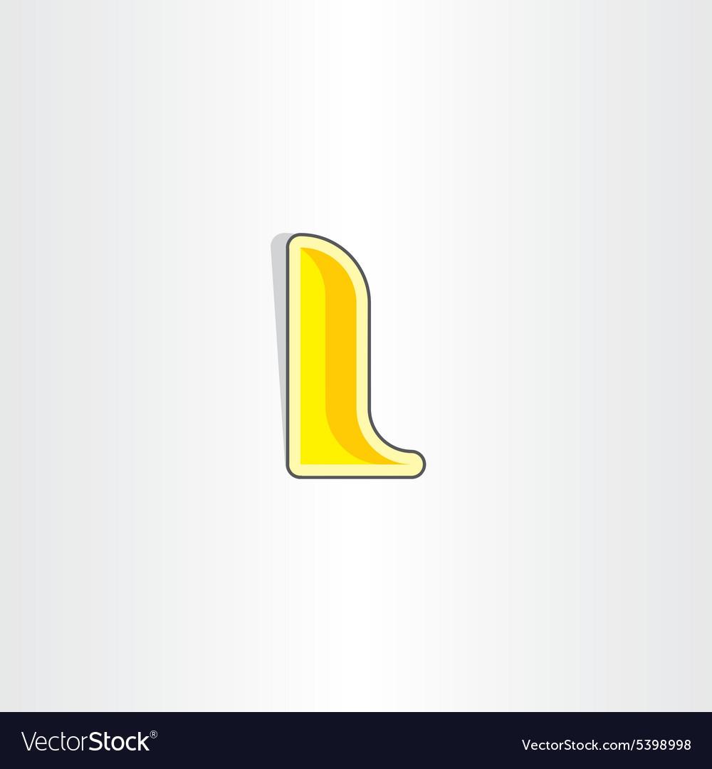 Yellow letter l icon design vector image