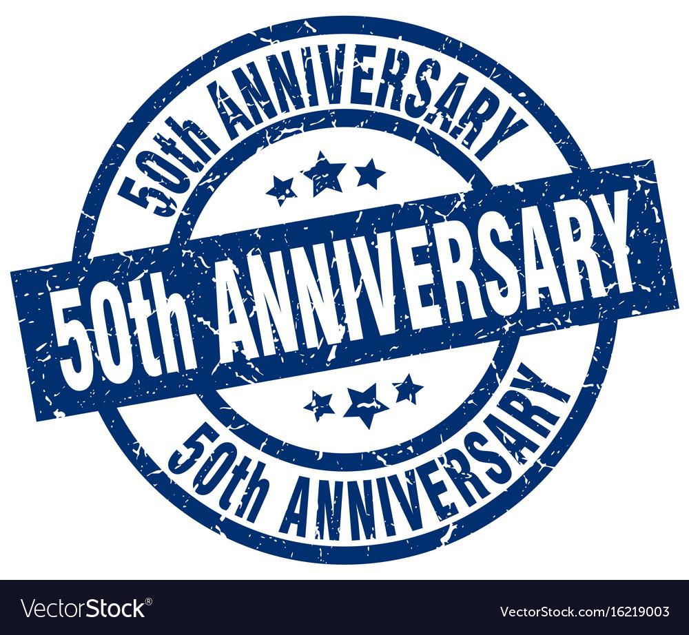50th anniversary blue round grunge stamp