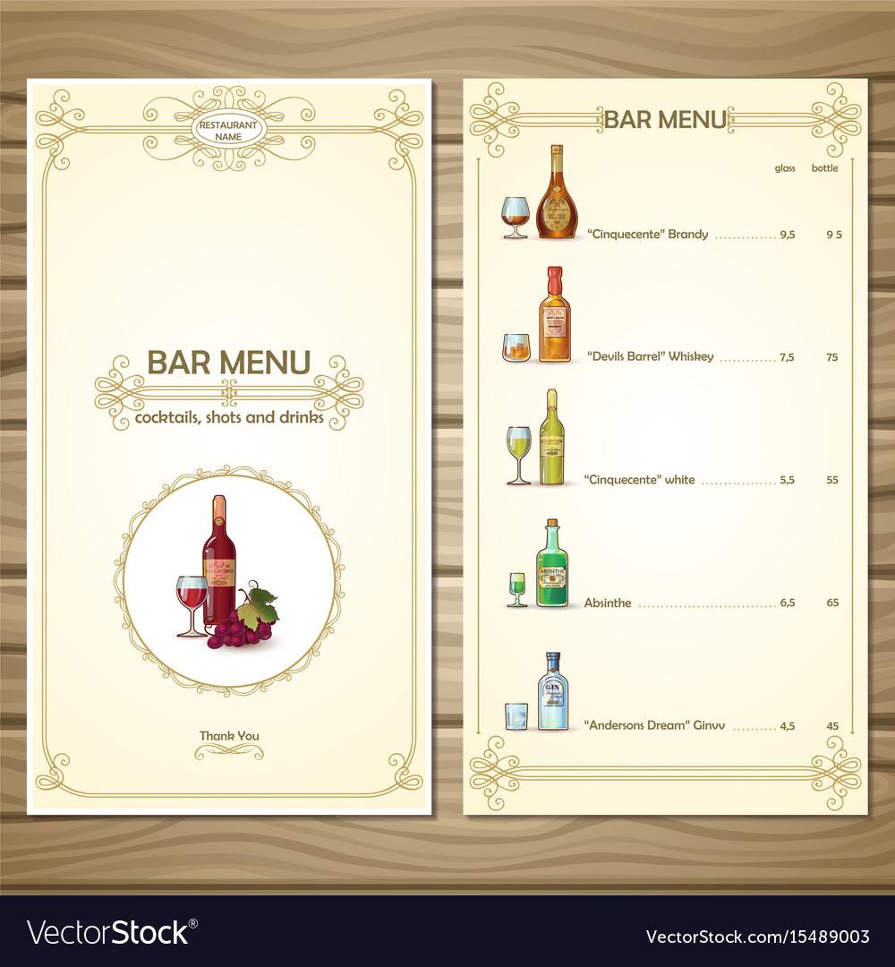 Bar Menu Template Royalty Free Vector Image Vectorstock