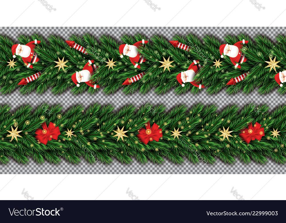 Border set with santa claus christmas tree