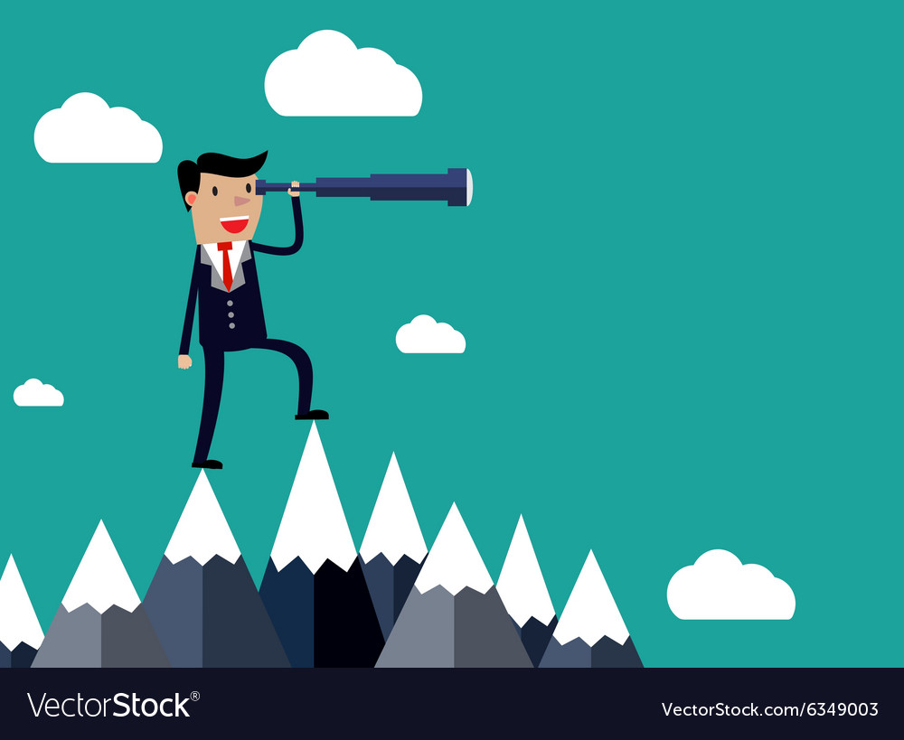 Businessman stand on top of mountain