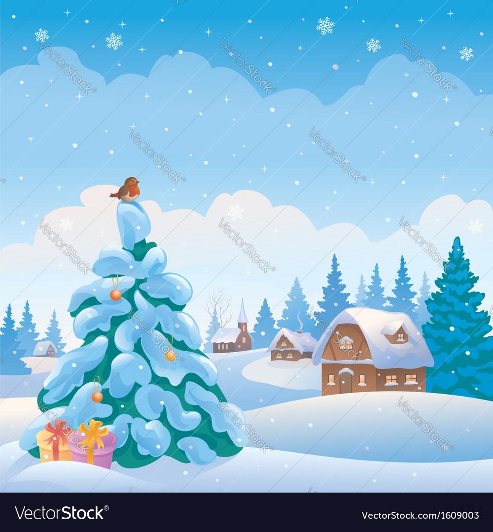 Christmas village vector image