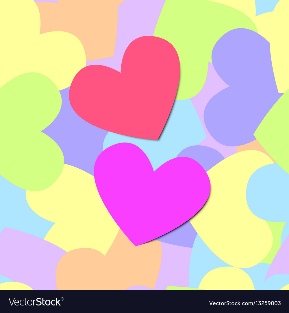 Colorful seamless pattern of heart