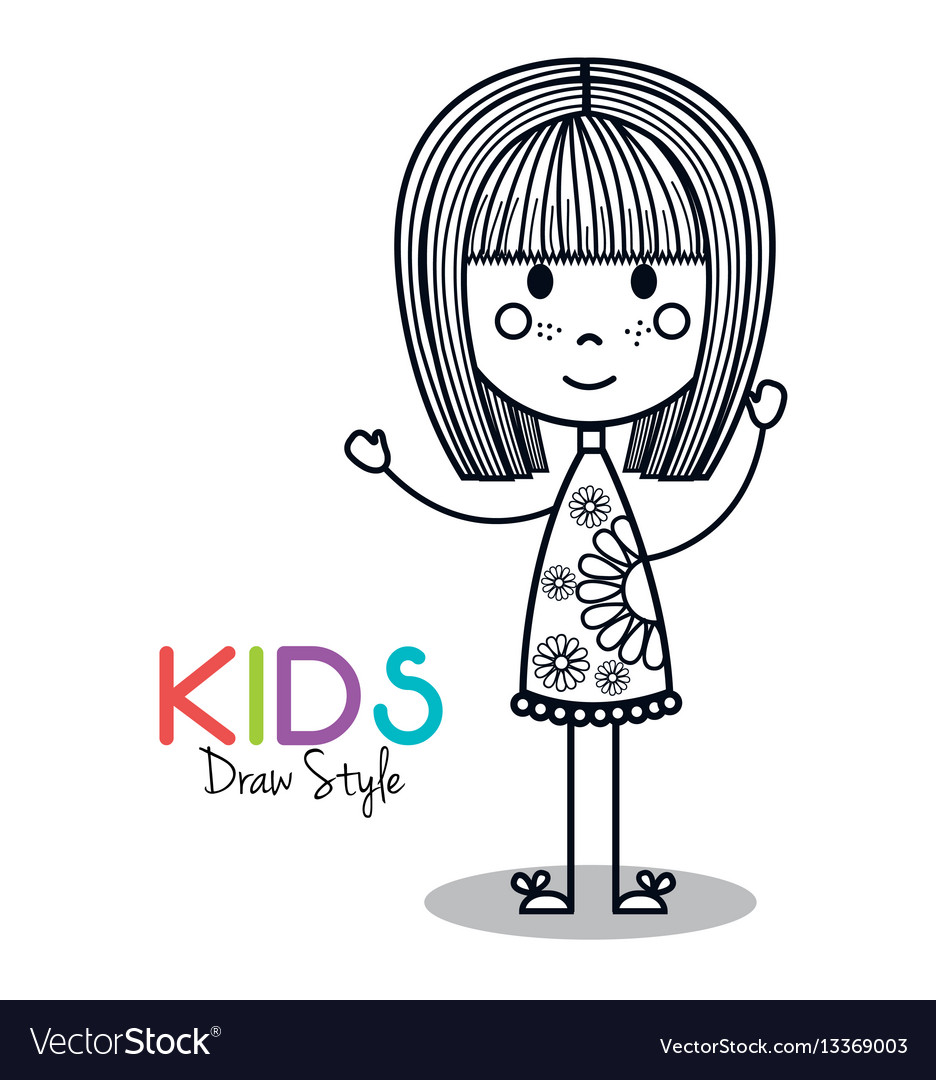 Cute Little Girl Drawing Royalty Free Vector Image
