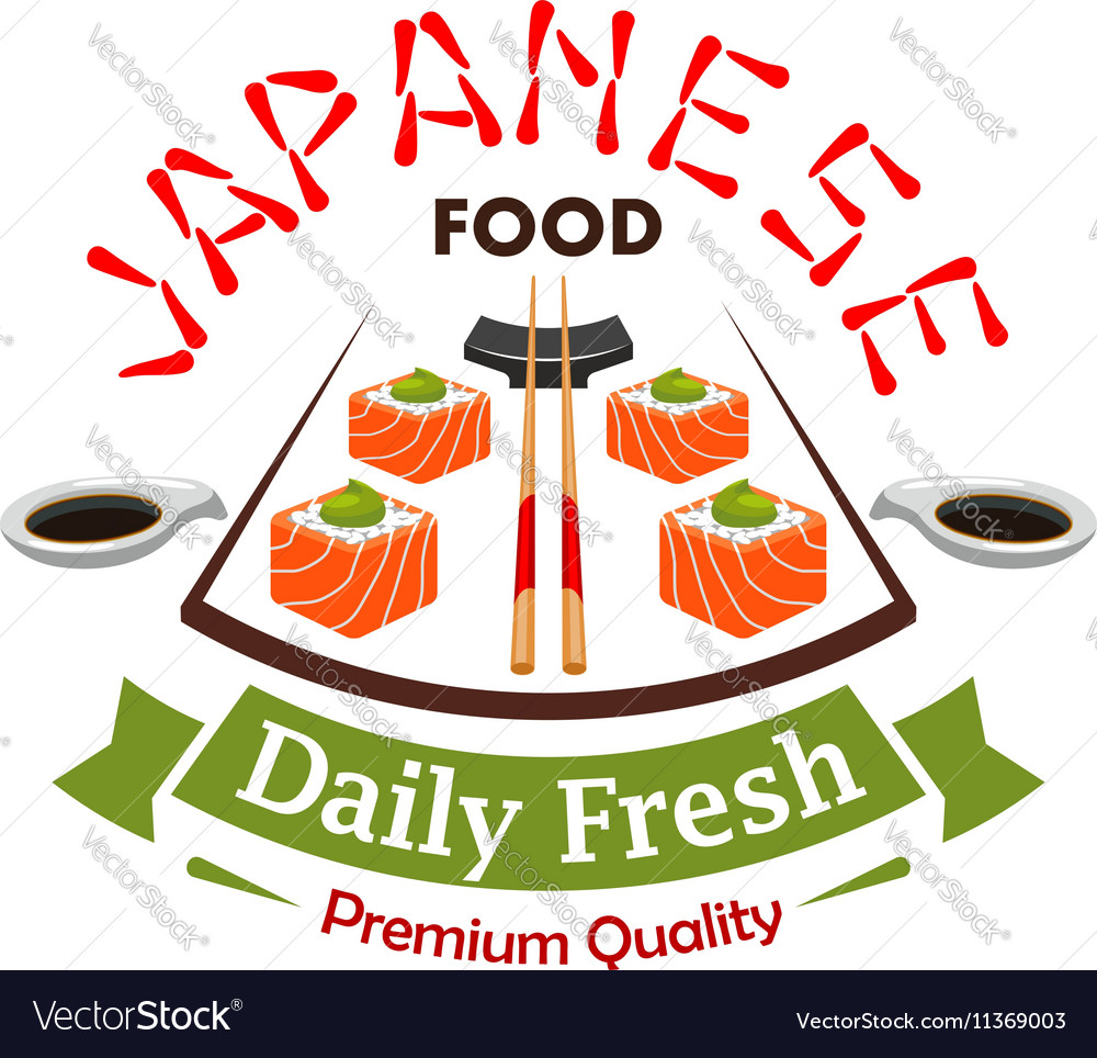 Japanese daily fresh food label emblem