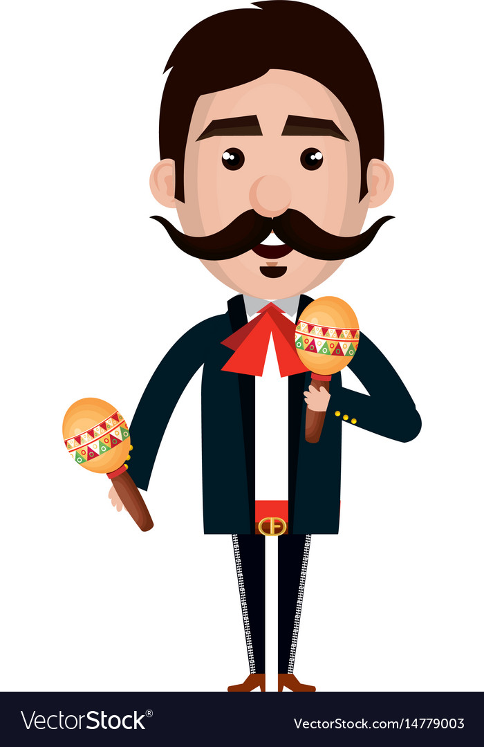 Mexican mariachi with maracas avatar character