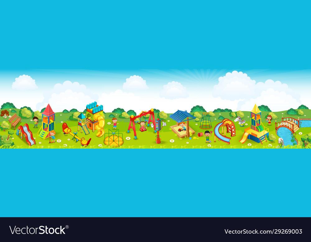 Panoramic playground on meadow