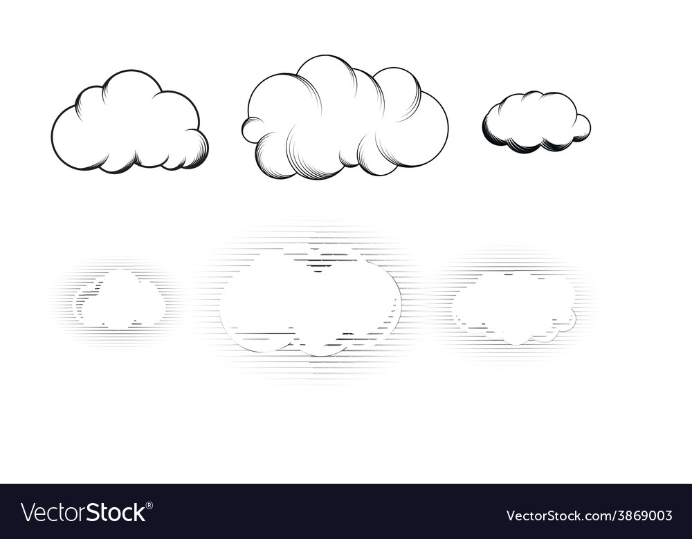 Set of six retro drawn engraving clouds isolated vector image