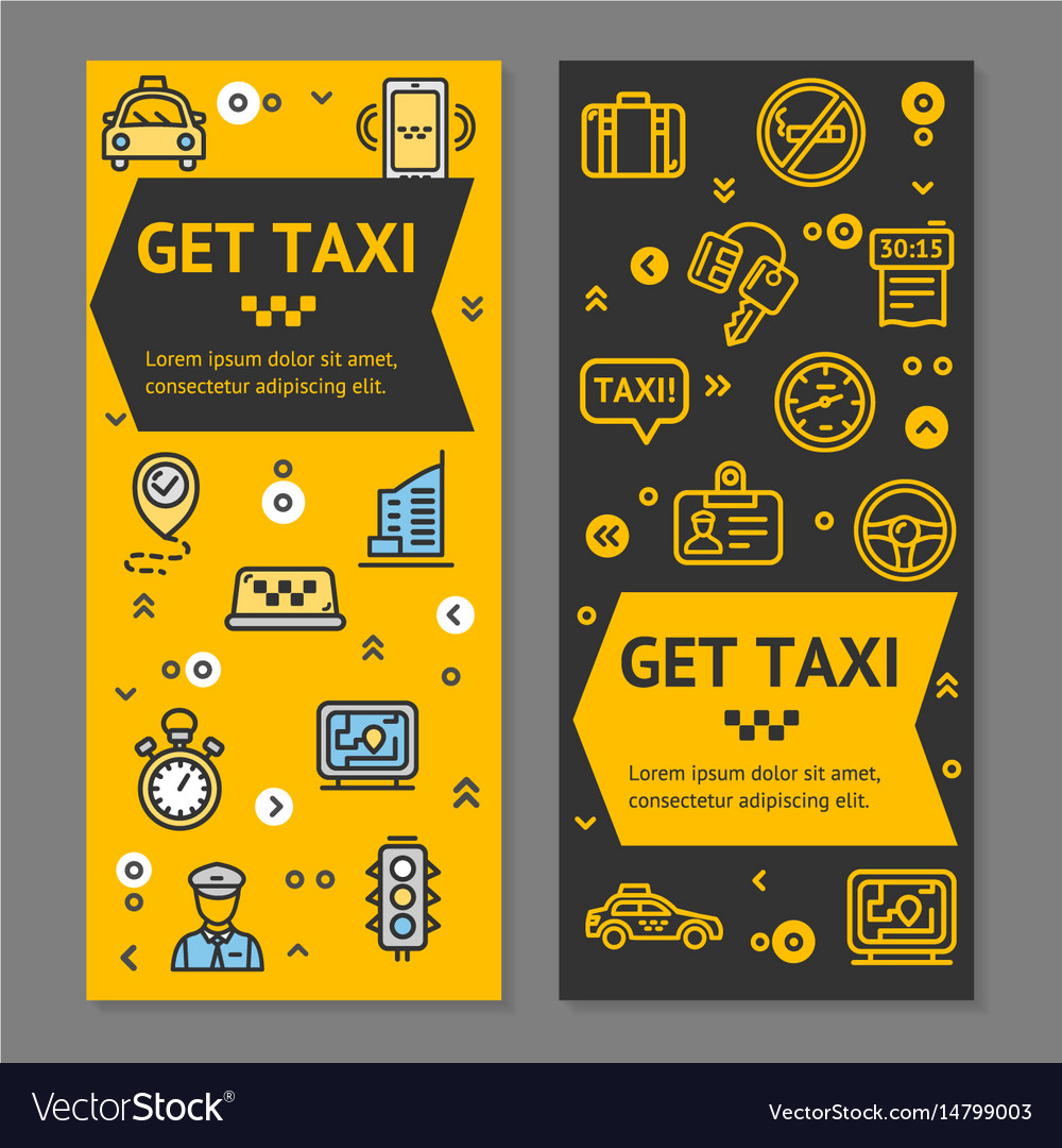 Taxi line service flyer banner posters card set